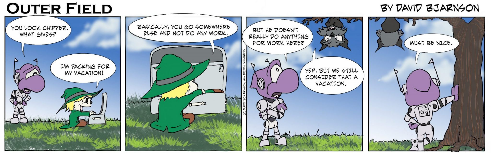 Ace the scarecrow explains to Al what a vacation is.